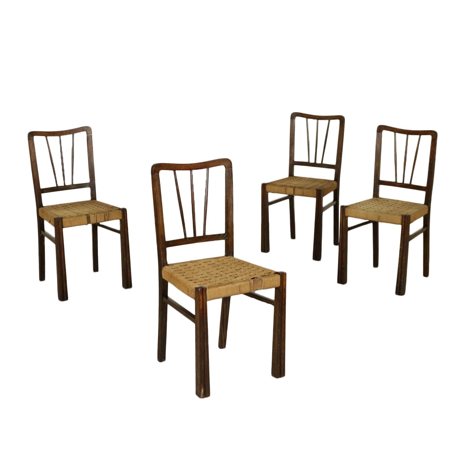 Gruppo quattro sedie rovere corda intrecciata modernariato - Sedie design anni 50 ...