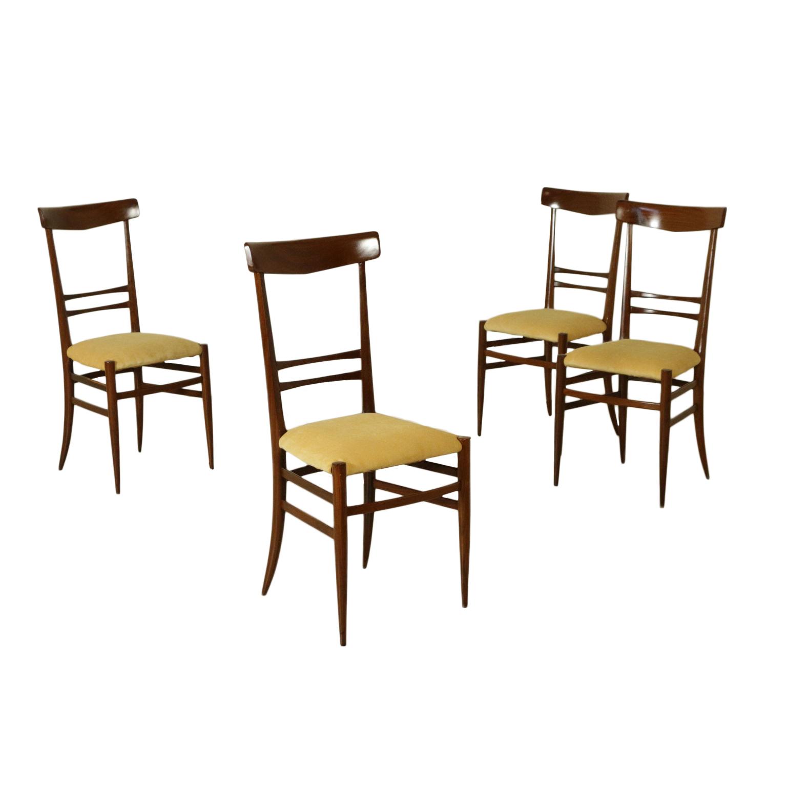 Gruppo 4 sedie design architetto gambarelli modernariato for Sedie design vintage