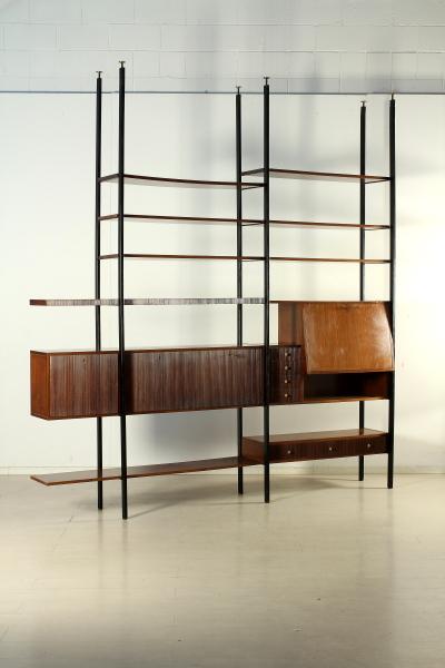 Libreria anni 50-60, elementi intercambiabili, legno impiallacciato ...